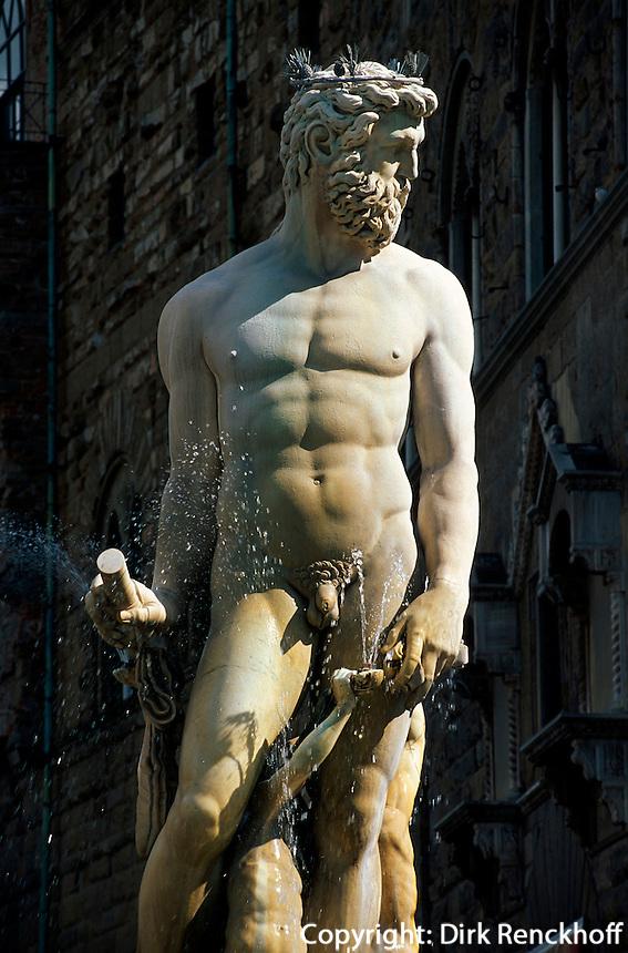 Piazza della Signoria, Neptunbrunnen von Ammanati, Florenz, Toskana, Italien, Unesco-Weltkulturerbe
