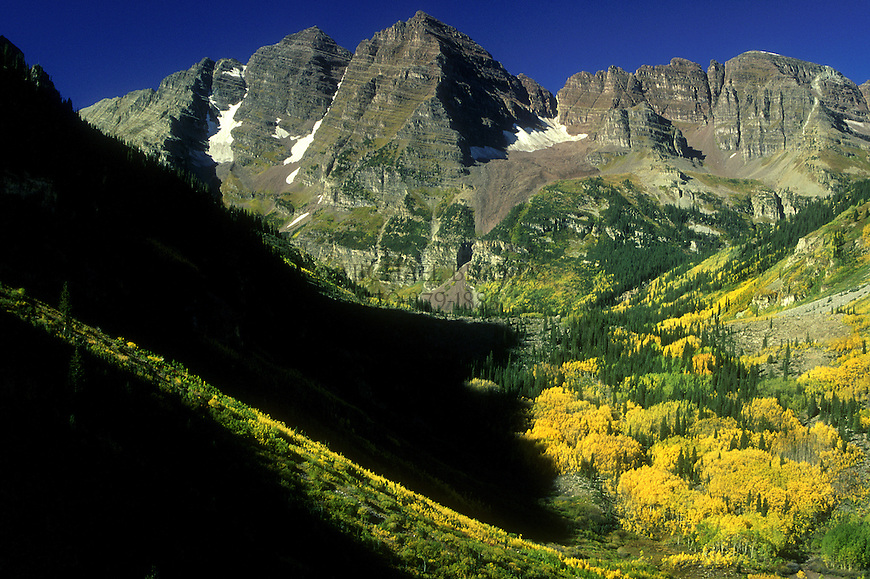 Fall colors in the Maroon Bells-Snowmass Wilderness. The Maroon Bells in background. White River National Forest. © Michael Brands. 970-379-1885.