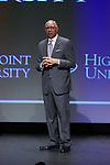 Tubby Smith addresses the crowd after having been introduced as the new men's basketball head coach for the High Point Panthers at the Hayworth Fine Arts Center on the campus of High Point University on March 27, 2018 in High Point, North Carolina.  (Brian Westerholt/Sports On Film)
