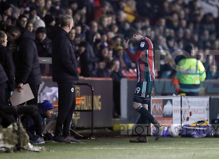 Richard Stearman of Sheffield Utd walks off injured during the Championship match at Bramall Lane Stadium, Sheffield. Picture date 02nd April, 2018. Picture credit should read: Simon Bellis/Sportimage