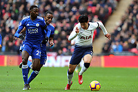 Wilfred Ndidi of Leicester City and Son Heung-Min of Tottenham Hotspur during Tottenham Hotspur vs Leicester City, Premier League Football at Wembley Stadium on 10th February 2019