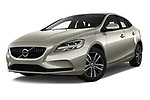 Stock pictures of low aggressive front three quarter view of 2017 Volvo V40 Momentum 5 Door Hatchback Low Aggressive
