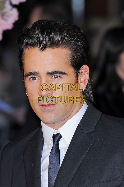 Colin Farrell <br /> attending the 57th BFI London Film Festival Closing Night Gala World Premiere of 'Saving Mr Banks', Odeon Cinema, Leicester Square, London, England. <br /> 20th October 2013<br /> headshot portrait black suit tie white shirt <br /> CAP/MAR<br /> &copy; Martin Harris/Capital Pictures