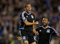 Ramiro Corrales of Earthquakes celebrates after scoring a goal during the second half of the game against Chivas USA at Buck Shaw Stadium in Santa Clara, California on September 2nd, 2012.   San Jose Earthquakes defeated Chivas USA, 4-0.