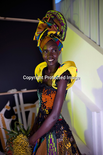CAPE TOWN, SOUTH AFRICA JULY 30: A model walking for the designer Marianne Fassler waits backstage before a show on July 30 2015 at the V&A Watershed in Cape Town, South Africa. Marianne Fassler is one of South Africa's most established designers and she showed at the yearly Mercedes Benz Cape Town Fashion Week where some of South Africa's finest designers showed their Spring/Summer 2016 collections, during the 3-day event. (Photo by Per-Anders Pettersson)