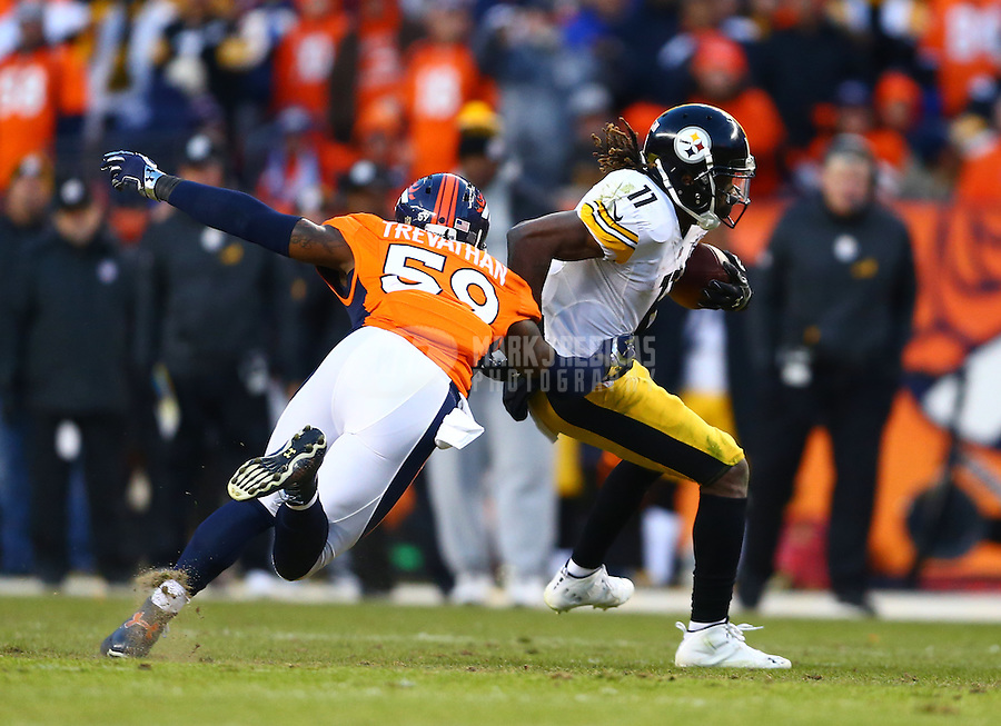 Jan 17, 2016; Denver, CO, USA; Pittsburgh Steelers wide receiver Markus Wheaton (11) against Denver Broncos linebacker Danny Trevathan (59) during the AFC Divisional round playoff game at Sports Authority Field at Mile High. Mandatory Credit: Mark J. Rebilas-USA TODAY Sports