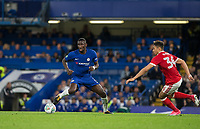 Antonio Rudiger of Chelsea turns Tyler Walker of Notthingham Forest during the Carabao Cup (Football League cup) 23rd round match between Chelsea and Nottingham Forest at Stamford Bridge, London, England on 20 September 2017. Photo by Andy Rowland.