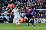 FC Barcelona's Gerard Pique and Real Madrid's Karim Benzema during La Liga match between FC Barcelona and Real Madrid at Camp Nou Stadium in Barcelona, Spain. October 28, 2018. (ALTERPHOTOS/A. Perez Meca)