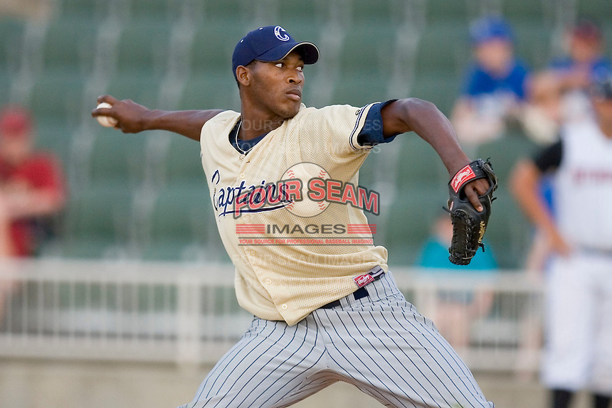 Relief pitcher Santo Frias #38 of the Lake County Captains in action versus the Kannapolis Intimidators at Fieldcrest Cannon Stadium May 3, 2009 in Kannapolis, North Carolina. (Photo by Brian Westerholt / Four Seam Images)