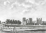 Engraving of Scottish landscapes and buildings from late eighteenth century,, Elgin cathedral, Scotland, UK , drawn by S Hooper