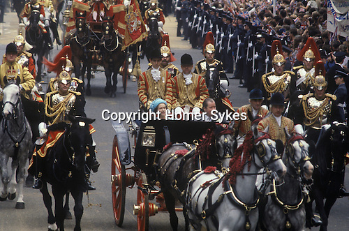 The Queen and the Earl of Spencer at Charles and Diana wedding. London  The Mall