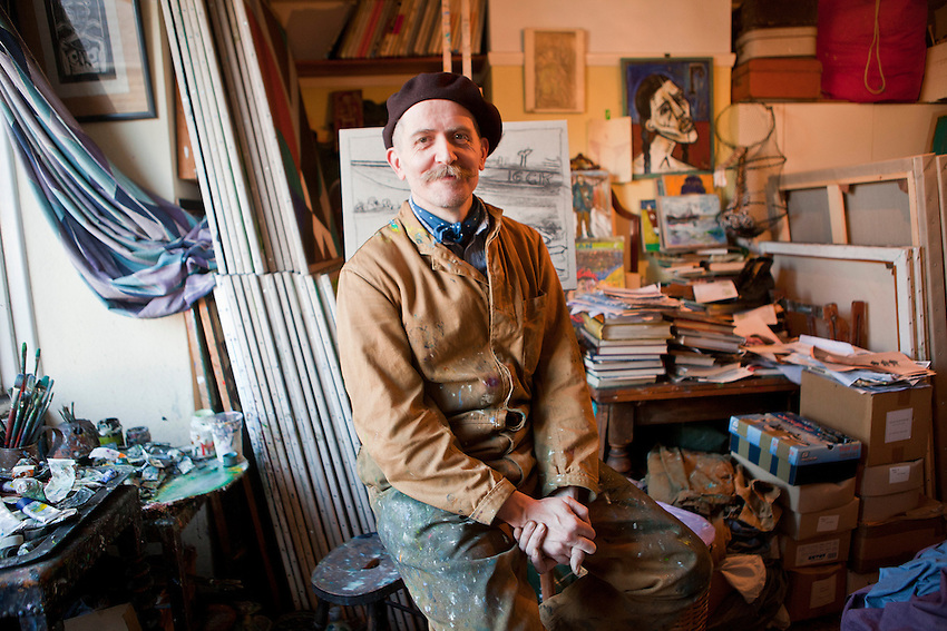 Billy Childish, British artist, painter, author, poet, photographer, film maker, singer and guitarist, photographed in his studio which is located in his mother's house in Whitstable.