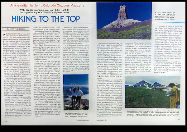 Write what you know about. Colorado Outdoors magazine.  Still hiking, climbing and skiing after all these years.