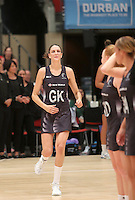 28.01.2017 Silver Ferns Anna Harrison takes to the court during the Silver Ferns v Australian Diamonds netball test match played at the International Convention Centre studium in Durban, South Africa.<br />  Mandatory Photo Credit ©Reg Caldecott/Michael Bradley Photography.