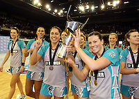 11.07.2010 Thunderbirds Mo'onia Geraard and Natalie Von Bertouch  celebrates winning the ANZ Champs Final netball match between the Magic and Tunderbirds played at the Adelaide Entertainment Centre in Adelaide. ©MBPHOTO/Michael Bradley