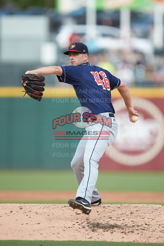 Toledo Mud Hens starting pitcher Jacob Turner (46) in action against the Charlotte Knights at BB&T BallPark on June 22, 2018 in Charlotte, North Carolina. The Mud Hens defeated the Knights 4-0.  (Brian Westerholt/Four Seam Images)