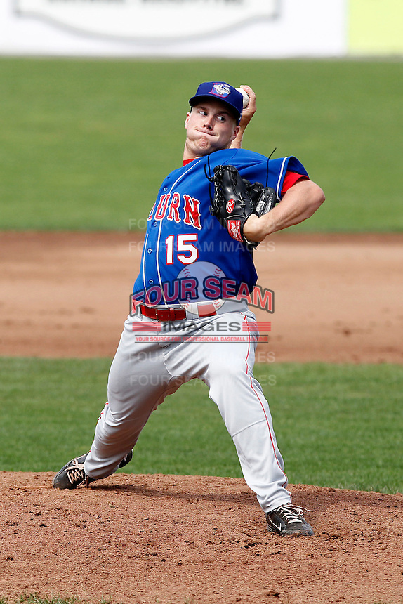 Auburn Doubledays pitcher Alex Kreis #15 delivers a pitch during a game against the Batavia Muckdogs at Dwyer Stadium on September 4, 2011 in Batavia, New York.  Batavia defeated Auburn 4-2.  (Mike Janes/Four Seam Images)