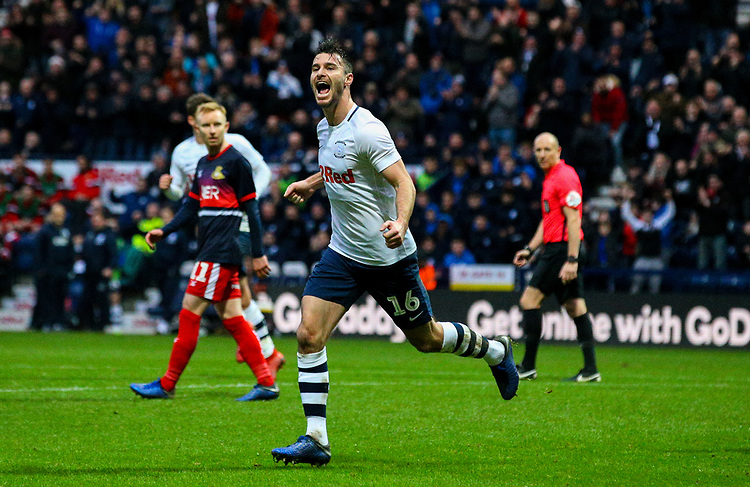 Preston North End's Andrew Hughes celebrates after scoring his side's equalising goal to make the score 1-1<br /> <br /> Photographer Alex Dodd/CameraSport<br /> <br /> The Emirates FA Cup Third Round - Preston North End v Doncaster Rovers - Sunday 6th January 2019 - Deepdale Stadium - Preston<br />  <br /> World Copyright &copy; 2019 CameraSport. All rights reserved. 43 Linden Ave. Countesthorpe. Leicester. England. LE8 5PG - Tel: +44 (0) 116 277 4147 - admin@camerasport.com - www.camerasport.com
