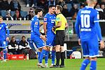 18.01.2020, PreZero-Arena, Sinsheim, GER, 1. FBL, TSG 1899 Hoffenheim vs. Eintracht Frankfurt, <br /> <br /> DFL REGULATIONS PROHIBIT ANY USE OF PHOTOGRAPHS AS IMAGE SEQUENCES AND/OR QUASI-VIDEO.<br /> <br /> im Bild: Florian Grillitsch (TSG 1899 Hoffenheim #11) und Benjamin Huebner (TSG Hoffenheim #21) diskutieren mit Schiedsrichter Sascha Stegemann<br /> <br /> Foto © nordphoto / Fabisch