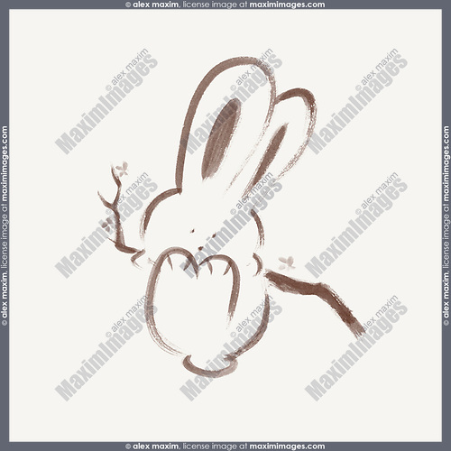 Cute happy bunny rabbit swinging on a branch, artistic illustration based on an original sumi-e painting artwork, minimalistic design brown bunny isolated on light ivory beige background