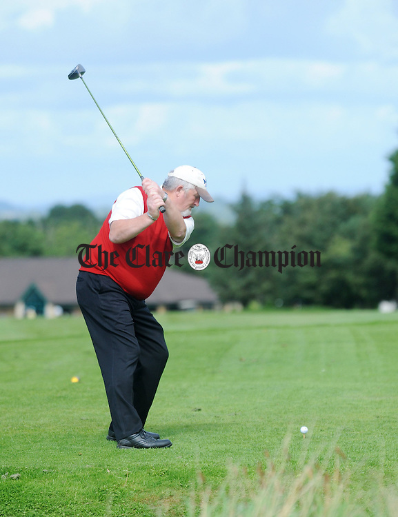 Luke Coote tees off during the J.B Carr Munster semi-final at Ennis Golf Club. Photograph by Declan Monaghan