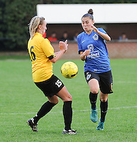 20161029 - ZWEVEZELE , BELGIUM : Zwevezele's Celine Decock (L) and Club Brugge's Tine Blomme (R)  pictured during a soccer match between the women teams of KSK Zwevezele and Club Brugge  , during the seventh matchday in the 2016-2017  Tweede klasse - Second Division season, Saturday 29 October 2016 . PHOTO SPORTPIX.BE | DIRK VUYLSTEKE