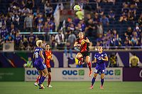 Orlando, Florida - Sunday, May 14, 2016: Western New York Flash defender Alanna Kennedy (8) heads the ball during a National Women's Soccer League match between Orlando Pride and New York Flash at Camping World Stadium.