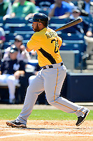 Pittsburgh Pirates third baseman Pedro Alvarez #24 during a Spring Training game against the New York Yankees at Legends Field on March 28, 2013 in Tampa, Florida.  (Mike Janes/Four Seam Images)