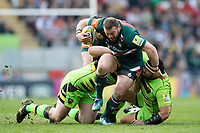 Greg Bateman of Leicester Tigers takes on the Northampton Saints defence. Aviva Premiership match, between Leicester Tigers and Northampton Saints on April 14, 2018 at Welford Road in Leicester, England. Photo by: Patrick Khachfe / JMP