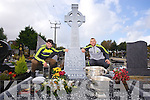 Kerry Minor  Cormac Coffey and Kerry Senior Barry John Keane with the Sam Maguire and Tom Markham  at Donal Walsh's Grave on Saturday