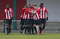 Theo Fairweather-Johnson of Hornchurch scores the second goal for his team and celebrates with his team mates during AFC Hornchurch vs Waltham Abbey, Bostik League Division 1 North Football at Hornchurch Stadium on 13th January 2018
