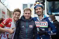 mates Tosh Van der Sande (BEL/Lotto-Soudal) post-race,  Kris Boeckmans (who didn't race, but just visited his team) &amp; Kenny De Haes (BEL/Wanty-Groupe Gobert) post-race<br /> <br /> 3-daagse van West-Vlaanderen 2016<br /> stage1: Bruges-Harelbeke 176km
