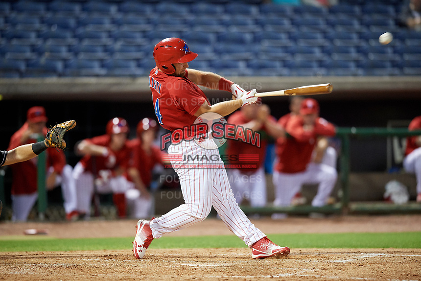 Clearwater Threshers designated hitter Austin Listi (34) delivers a base hit during a game against the Jupiter Hammerheads on April 12, 2018 at Spectrum Field in Clearwater, Florida.  Jupiter defeated Clearwater 8-4.  (Mike Janes/Four Seam Images)