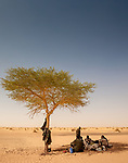 Guards sit under lone acacia (Vachellia sp.), Araouane, Mali<br /> While filming Art Wolfe&rsquo;s Travels to the Edge television show, we ventured into this once thriving region for trade in the Sahara Desert, just north of Timbuktu. Because of the potential danger of kidnapping we traveled with a security guard. Here they rest in the small shade cast by an acacia.<br /> <br /> Canon EOS-1Ds Mark II, EF16-35mm f/2.8 lens, f/10 for 1/125 second, ISO 200