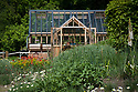 Greenhouse and garden, mid May. Planting includes Anthemis cupaniana, Eremerus himalaicus, Geum 'Fire Opal', and Euphorbia oblongata.