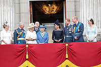 Sophie Countess of Wessex, Prince Charles, Camilla Duchess of Cornwall, Prince Andrew, HM Queen Elizabeth II, Meghan Duchess of Sussex, Prince Harry, Prince William, Catherine Duchess of Cambridge on the balcony of Buckingham Palace<br /> The Royal Family watch RAF centenary fly-past at Buckingham Palace, The Mall, London, England on July 10, 2018.<br /> CAP/GOL<br /> &copy;GOL/Capital Pictures