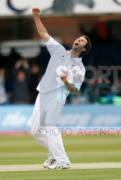 England's Graham Onions celebrates taking his fifth wicket for 38