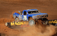 Apr 17, 2010; Surprise, AZ USA; LOORRS unlimited 2 driver Jesse Jones crashes into a wall during round 3 at Speedworld Off Road Park. Mandatory Credit: Mark J. Rebilas-US PRESSWIRE.