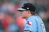 Wes Benjamin (12) of the Hickory Crawdads watches the action from the dugout during the game against the Delmarva Shorebirds at L.P. Frans Stadium on June 18, 2016 in Hickory, North Carolina.  The Shorebirds defeated the Crawdads 4-2 in game two of a double-header.  (Brian Westerholt/Four Seam Images)