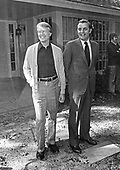 United States President-elect Jimmy Carter, left, and US Vice President Walter Mondale, right, meet in Plains, Georgia prior to a post-election press conference on November 4, 1976.  <br /> Credit: Benjamin E. &quot;Gene&quot; Forte / CNP
