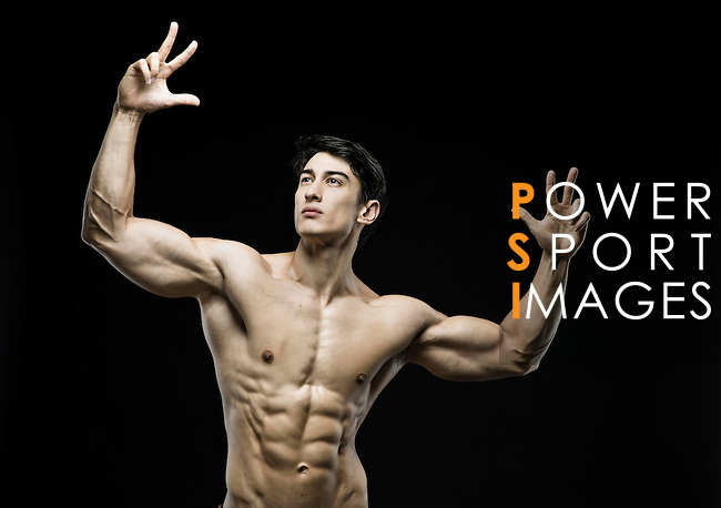 Lifetime natural Hong Kong Power-lifting IFBB Men's Physique Champion Sebastian Mok poses during a photo shootng in Hong Kong on 18 november 2015. Photo by Victor Fraile / Power Sport Images