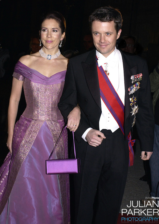 Crown Prince Frederik of Denmark & Mary Donaldson attend a State Banquet at Amalienborg Palace during the State Visit of H.E Mr Ion Iliescu, The President of Romania..