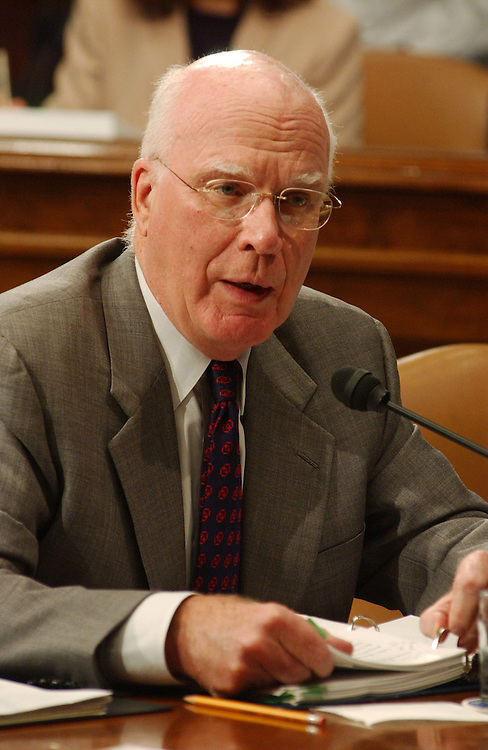 10/2/03.PICKERING NOMINATION--Ranking Democrat Patrick J. Leahy, D-Vt., criticizes statements of Sen. John Cornyn, R-Texas, during the Senate Judiciary business meeting to consider the nomination of Charles W. Pickering Sr. to be U.S. Circuit judge for the 5th Circuit. The committee endorsed the nomination with a 10-9 party-line vote, setting the stage for yet another Democrat filibuster over President Bush's judicial selections..CONGRESSIONAL QUARTERLY PHOTO BY SCOTT J. FERRELL