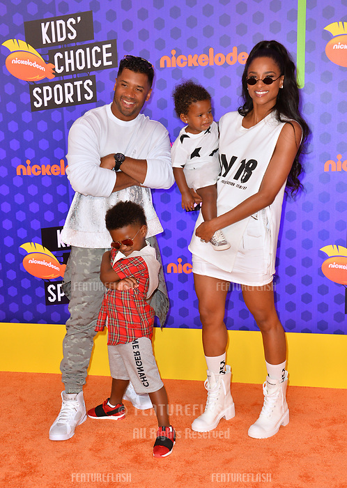 Russell Wilson, Ciara, Sienna Princess Wilson &amp; Future Zahir Wilburn at the Nickelodeon Kids' Choice Sports Awards 2018 at Barker Hangar, Santa Monica, USA 19 July 2018<br /> Picture: Paul Smith/Featureflash/SilverHub 0208 004 5359 sales@silverhubmedia.com