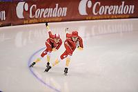 SCHAATSEN: HEERENVEEN: IJsstadion Thialf, 31-10-2012, Perspresentatie Team Corendon, Training, Floor van den Brandt, Pepijn van der Vinne, ©foto Martin de Jong