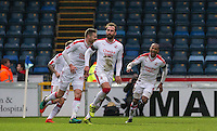 Josh Payne of Crawley Town celebrates his winning goal 2 1 during the Sky Bet League 2 match between Wycombe Wanderers and Crawley Town at Adams Park, High Wycombe, England on 25 February 2017. Photo by Andy Rowland / PRiME Media Images.