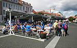 FK Trakai v St Johnstone…05.07.17… Europa League 1st Qualifying Round 2nd Leg<br />Saints fans take over a bar in the Town Hall square in Vilnius ahead of kick off<br />Picture by Graeme Hart.<br />Copyright Perthshire Picture Agency<br />Tel: 01738 623350  Mobile: 07990 594431