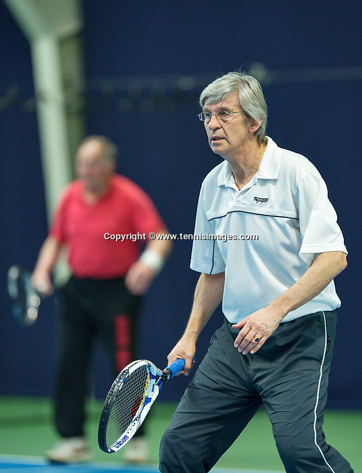 Hilversum, The Netherlands, March 10, 2016,  Tulip Tennis Center, NOVK, men's doubles Hans Adema Van Scheltema (foreground) and Nico Welchen<br /> Photo: Tennisimages/Henk Koster