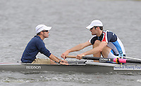 Poznan, POLAND, Eye to eye,  USA M8+, left cox DEL GUERCIO and stroke,  James GRANT, training on the Poznan, Malta Rowing Lake venue for the 2009 FISA World Rowing Championships. Saturday  22/08/2009 [Mandatory Credit. Peter Spurrier/Intersport Images]