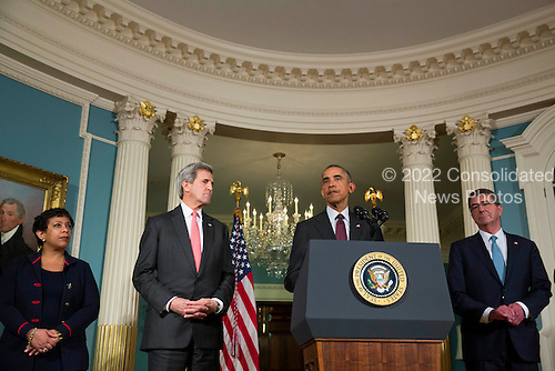 From left to right: United States Attorney General Loretta Lynch, US Secretary of State John Kerry  and US Secretary of Defense Ashton Carter look on as U.S. President Barack Obama makes a statement after meeting with his National Security Council at the State Department, February 25, 2016 in Washington, DC. The meeting focused on the situation with ISIS and Syria, along with other regional issues.<br /> Credit: Drew Angerer / Pool via CNP